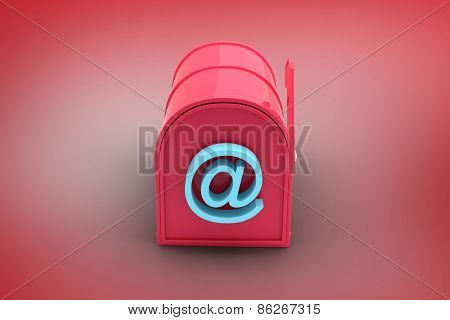 Red email post box against red vignette