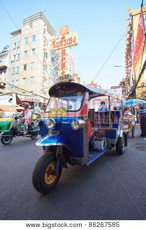 Thailand,bangkok-feb 24:tuktuk Parking In Yaowarat Road Main Street In Chinatown,one Of Bangkok Land
