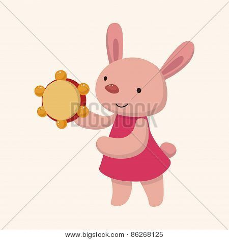 Animal Rabbit Playing Instrument Cartoon Theme Elements