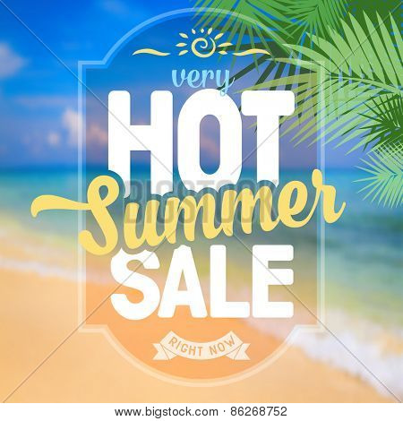 Advertisement about the summer sale on defocused background with beautiful tropical sea beach view. Vector illustration.