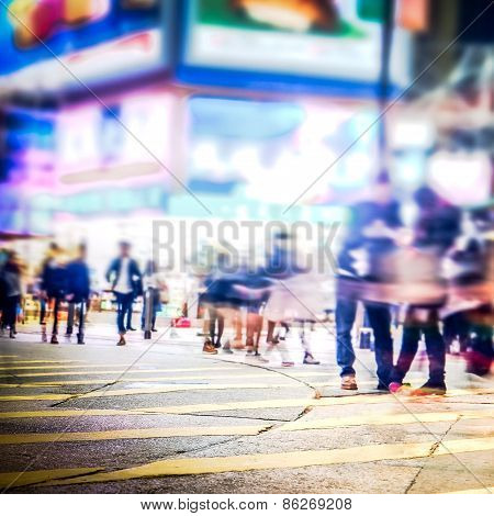 Blurred Image Of Night City Street. Hong Kong