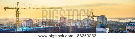 Cityscape Panorama Of Building Construction. Yangon, Myanmar