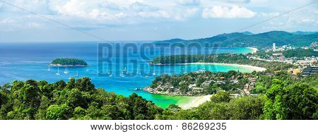 Tropical Ocean Andscape Panorama. Kata And Karon Beach, Phuket, Thailand