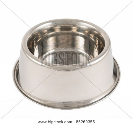 Pet's dog metal bowl isolated