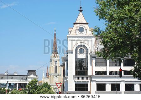 View of buildings of old quarter in the city of Novi Sad, Serbia