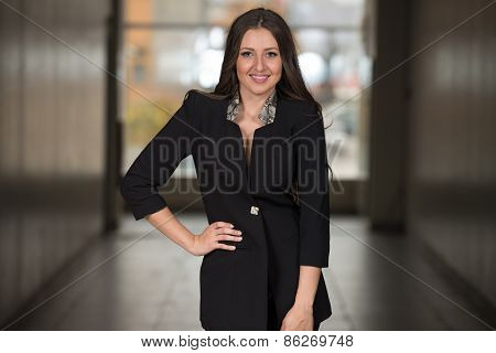 Business Woman In Suit At The Shopping Mall