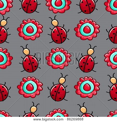 Seamless Colourful Pattern With Ladybugs And Flower