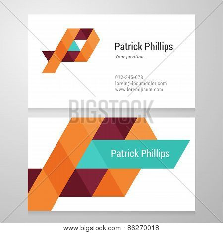 Modern Letter P Business Card Template