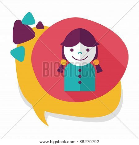 Female Student Flat Icon With Long Shadow,eps10
