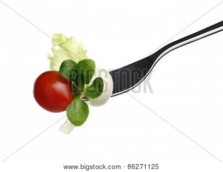 Fork Lettuce Salad Leaves, Tomato And Mozzarella Isolated On White