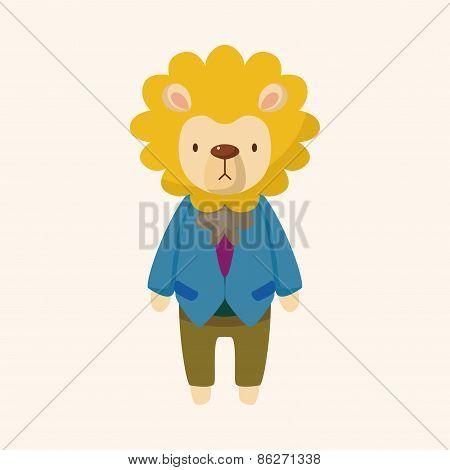 Animal Lion Worker Cartoon Theme Elements