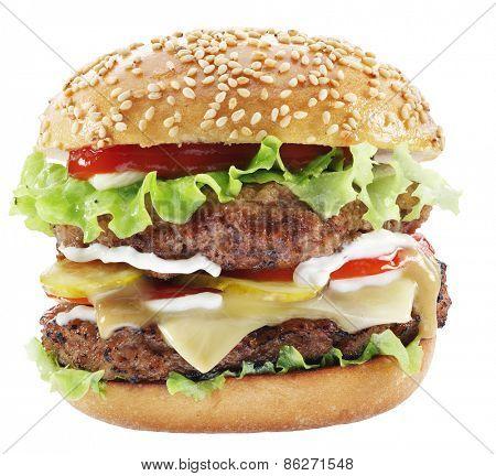 Hamburger isolated on a white background.