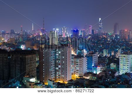 Night View Of Ho Chi Minh Cityscape, Vietnam