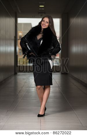 Beautiful Young Woman Wearing Leather Jacket
