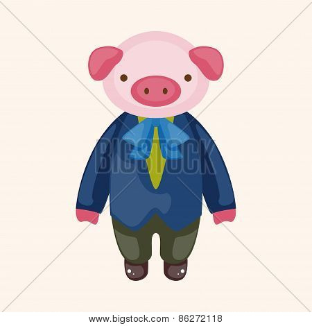 Animal Pig Waiter Cartoon Theme Elements
