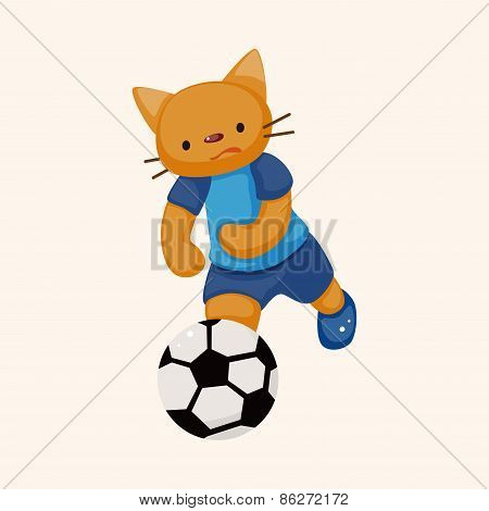 Cat Playing Soccer Cartoon Theme Elements