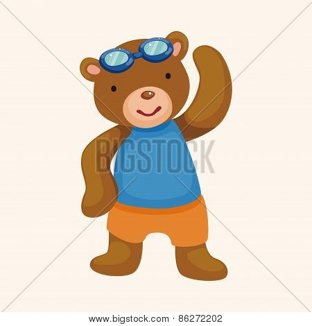 Swimming Bear Cartoon Theme Elements