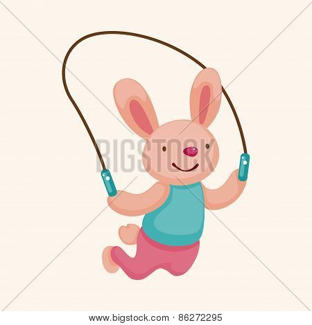 Jump Rope Rabbit Cartoon Theme Elements