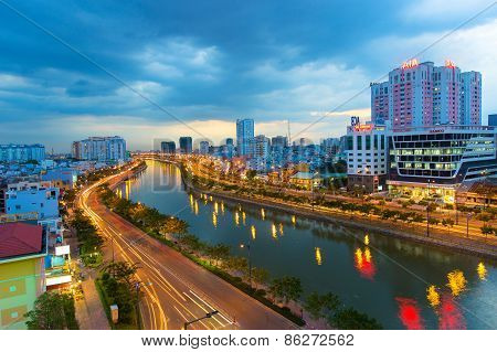 Ho Chi Minh Riverside Cityscape Night View With Ben Nghe O