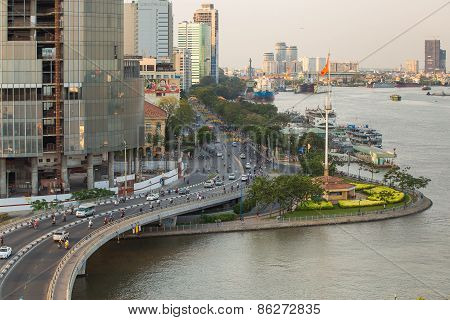 Traffic At Curves Of Khanh Hoi Bridge At Downtown Of Saigon,
