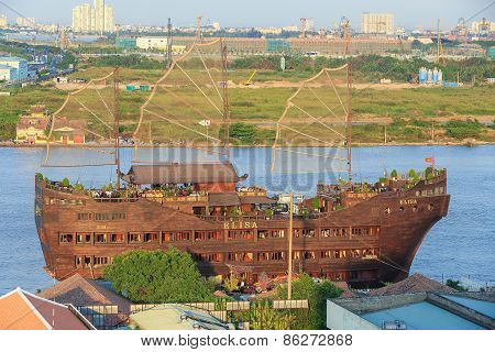 Ho Chi Minh City/vietnam - Circa Feb 2015: Tourist Sailboat As Restaurant In Saigon Riverside At Dow