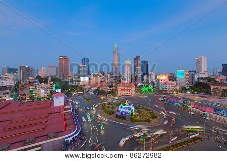 Ho Chi Minh, Vietnam - Jan 25, 2015. Downtown Saigon And Quach Thi Trang Park In Sunset, Ho Chi Minh