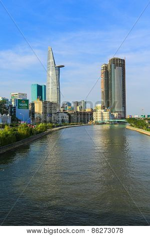 Hochiminh City, Vietnam - December 16: View Of Tau Hu Canal And Bitexco Finance Building In Hochimin