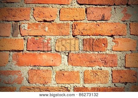 Background Made Of Old Vintage Brick Wall.