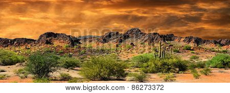 Beautiful panorama all natural Image of Cloud formations and rocky Mountains near the Border of New Mexico and mexico