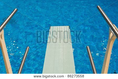 Olympic Diving Pool Seen From Trampoline