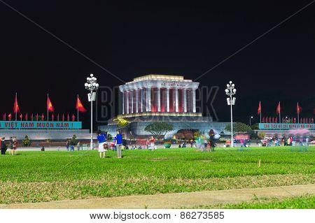 Night View Of Ho Chi Minh Mausoleum In Hanoi Captital, Vietnam
