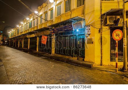 Hanoi/vienam - Circa Feb 2015 : Night Of Ta Hien Old Town At Centre Of Hanoi, Vietnam. This Is The M