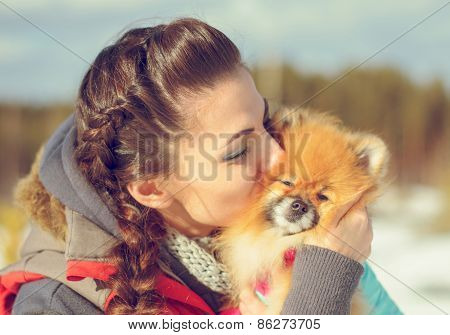 girl with a pet