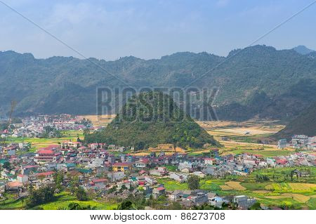 Village Between High Mountains , Quan Ba, Ha Giang, Vietnam.