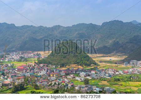 Village Between High Mountains , Quan Ba, Ha Giang, Vietnam.