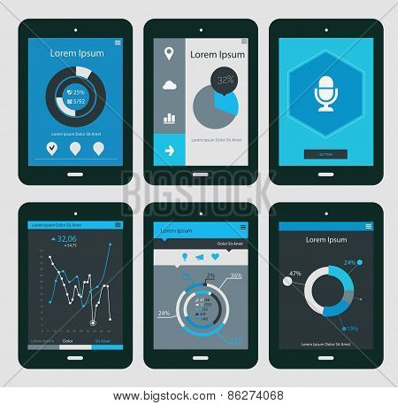 Abstract Infographics Templates Collection, On Tablet Pc