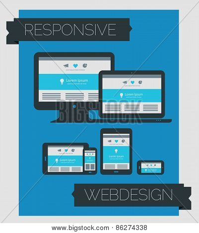 Responsive Webdesign Technology Page Design Template On Blue Background
