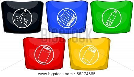 Trash Cans In Different Colors For Recycling