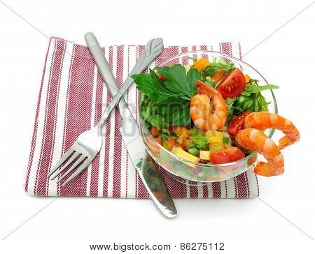 Vegetable Salad With Shrimps Isolated On White Background