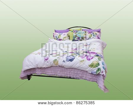 Bed Isolated On White Background.
