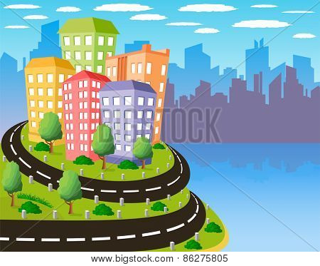 Cartoon illustration of a road to a city