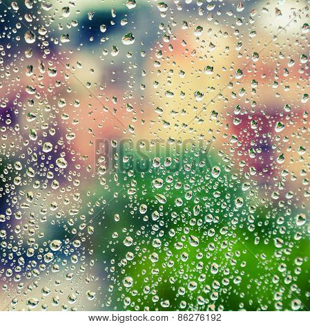 Wet Glass With Droplets, Colorful Square Photo Background