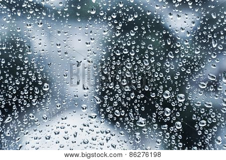 Wet Glass With Droplets, Dark Blue Photo Background
