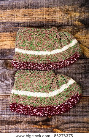 Traditional knitted slippers