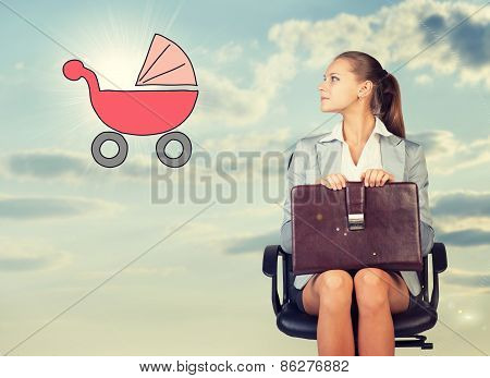 Business woman in skirt, blouse and jacket, sitting on chair, holding briefcase imagines buggy. Agai