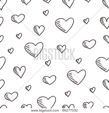 Cute hand-drawn seamless pattern with hearts.