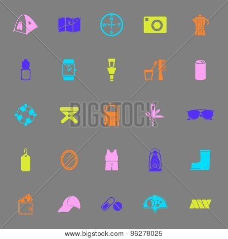 Camping Necessary Color Icons On Gray Background