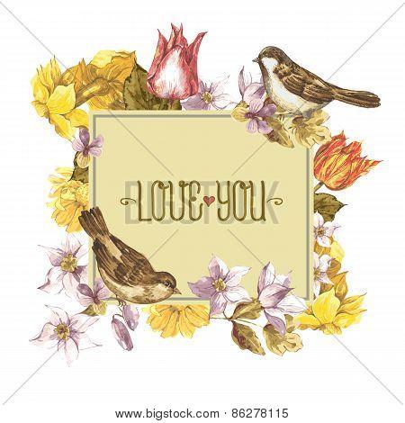 Spring Floral Retro Card with Bird Sparrows