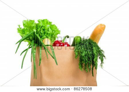 Bag With Groceries Isolated
