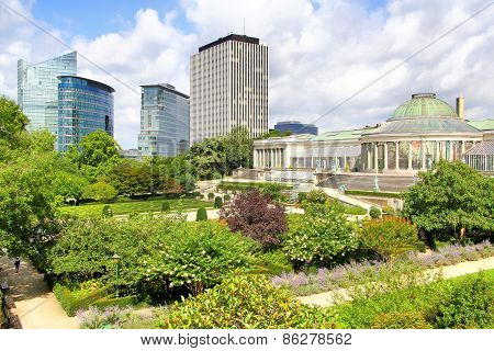 The Jardin Botanique And Modern Skyscrapers In Brussels